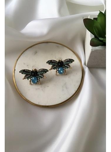 My Joyas Design Mavi & Yeşil Renkli Kelebek Küpe Bronz